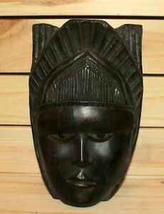 Vintage African hand carving wood tribal wall hanging mask woman face