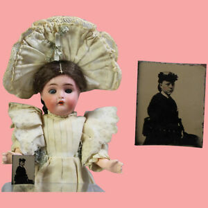 Antique Dollhouse Doll Tintype Lady w Hat for Dolly's Millinery Shop!