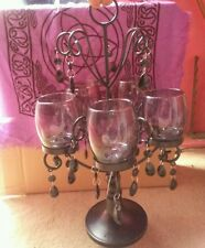 Black Iron 5 Clear Sconce Gothic Table Candle Opera Chandelier Crystal Accents
