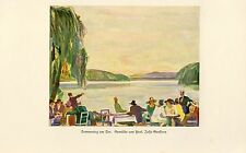 Summer day at the lake German 1930 art print by Josse Goossens cafe 20s fashion