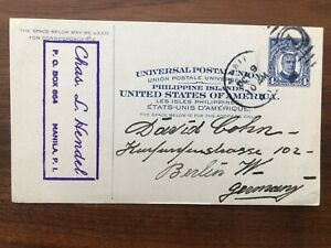 PHILIPPINES USA OLD POSTCARD MANILA TO GERMANY 1910 !!