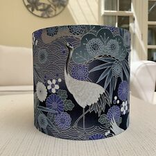 Handmade Lampshade Japanese Oriental Cranes Fabric Grey Sage Green Silver Purple