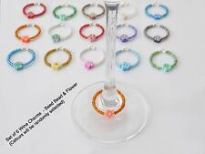 Summer Wine Glass Charms - Set of 6 - Seed Beads  Silver Plated Organza Gift Bag