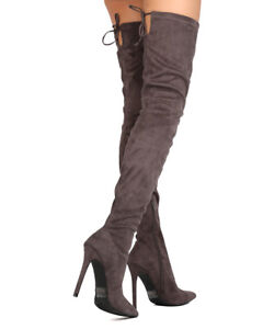 New Women Liliana Gisele-50 Faux Suede Thigh High Pointy Toe Stiletto Boot