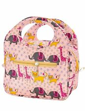 Insulated Lunch Bag Box Tote Cooler Reusable Ark Safari Animals Pink Handbag