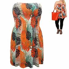 Yours plus size 20 Strapless Jersey Top Stretch Smocked Bandeau Tropical Orange
