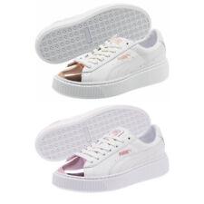 PUMA Basket Platform Trainers White Metallic Rose Lilac Ladies Shoes Size 6.5