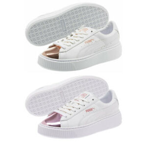 PUMA Basket Platform Trainers White Metallic Rose Lilac Ladies Shoes Size 6.5