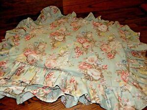 Vintage Standard Queen Green Floral Charlotte  RALPH LAUREN Ruffle Pillow Shams!