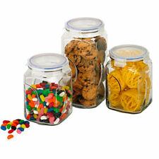 New GLASSLOCK Storage Food Glass Canister Set W/ Lid 3pc 28034