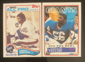 LOT 2 1982 TOPPS LAWRENCE TAYLOR #434 ROOKIE CARD RC 1983 #133 NM OR BETTER