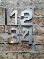 """Large 4"""" or 6"""" modern floating house/door numbers 2mm brushed stainless steel"""