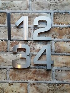 "Large 4"" or 6"" modern floating house/door numbers 2mm brushed stainless steel"