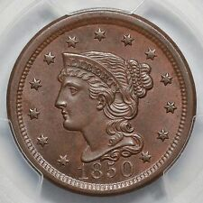 1850 N-7 PCGS MS 63 BN Scarce E-MDS Braided Hair Large Cent Coin 1c