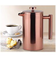 20 oz FRENCH PRESS COPPER STAINLESS STEEL COFFEE BEAN ESPRESSO MAKER DOUBLE WALL