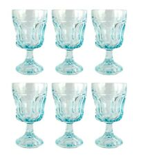 "SIX Vintage Anchor Hocking Fairfield Aqua Lazer Blue Juice Water Goblets 5.25"""