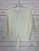 LUQ Stitch Fix Women's M Medium Off White Eyelet Spring Top Blouse NEW With TAGS