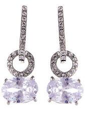 Big Round Circle Oval Crystal Clear Rhinestone Silver Tone Dangle Drop Earrings