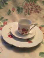 Antique VTG Porcelain Tea Coffee Demitasse Cup Saucer Plate Red Rose Bone China