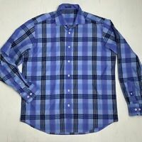 Bugatchi Uomo Shirt Mens Large Filp Cuff Tartan Blue Plaid Long Sleeve Button Up