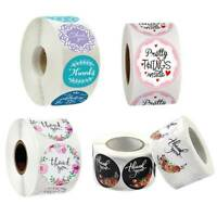 500Pcs/Roll Round Thank you Stickers Wedding Flower Handmade Adhesive Label New