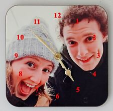 Selfie Wall Clock Put Your selfie photo on a Square Wall Clock Size 19cm by 19cm
