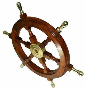 Wooden SHIP WHEEL 24 Inch Wall Decor Vintage Brown Brass Nautical Collectible