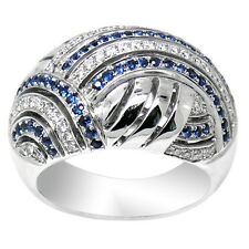 De Buman18K White Gold with 0.567ct Genuine Sapphire and Diamond Ring  Size 7.75