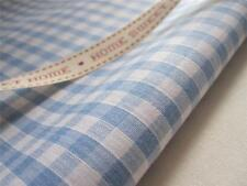 """BLUE GINGHAM FABRIC 1/4"""" 6MM CHECKED POLYCOTTON METRES 44"""" 112CM CRAFT INTERIOR"""