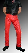 Schnürlederhose Lederjeans rot Lederhose rot leather trousers red pantalon cuir