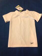 Unisex Youth Speedo Rash Guard Sun Protection Short Sleeve Shirt White SM NWT