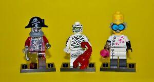 LEGO Minifigure Series 3 MUMMY, & Series 14 MONSTER SCIENTIST & ZOMBIE PIRATE