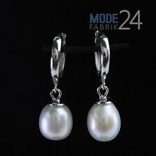 Damen Ohr ringe Hänger Creole echt 925 Sterling Silber Zucht Perle Ring Weiß