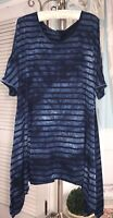 NEW Plus Size 2X Blue Tunic Top Shark Bite Shirt Knit Blouse