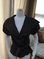 Zara Woman Brown Flax Linen Wrap Tie Front Blazer Top Jacket Small Excellent