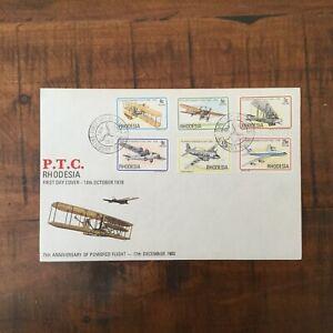 RHODESIA 1978 75th Anniv of Powered Flight FDC Salisbury pmk  (e32)