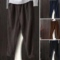 ZANZEA Femme Pantalon Couleur Unie 100% coton Casual en vrac Taille elastique