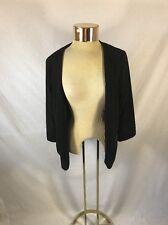 Women's Black REITMANS Open Blazer w 2 Zipper Pockets Sz 15 Ruched 3/4 Sleeves