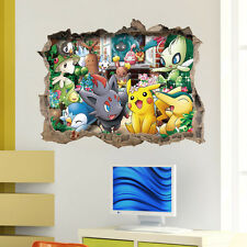 Cartoon Games Pokemon Go 3D Wall Decals Sticker Kids Nursery Decor Mural Vinyl