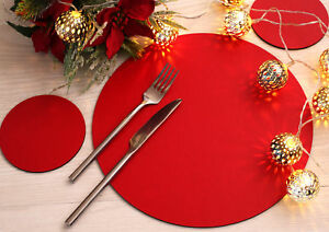 Set of 4 Elementary Red Leatherboard Round Placemats and 4 Coasters - Made in UK