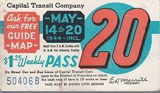 Trolly/Bus pass capital Transit Wash. DC--1944-----89
