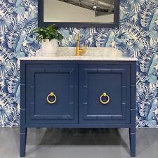 Blue & White Alfresco Palm Leaf Tropical Wallpaper - NEW! 10m Roll
