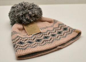 Timberland Women's Pom Pom Fair Isle Beanie Knit Hat Pink Grey New! NWT
