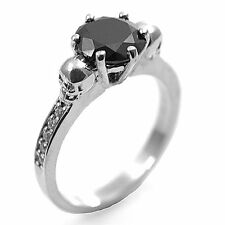 Skull Ring 6 Claw 2ct Round Cut Black Diamond-Unique with Accents 9ct Gold
