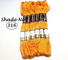6 Anchor Cross Stitch Stranded Cotton Embroidery Thread Floss / Skeins Orange