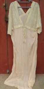 antique 100% silk Lace pink gown party night sleeping nightgown flapper era 30s