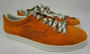Gucci Men's Orange Suede Perforated Logo Sneakers Shoes Size 7.5 G / 8.5 US