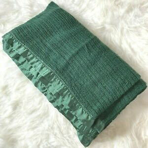 Vintage Blanket Satin Trim Waffle Weave Queen 86 x 82 Rare Forest Green Full