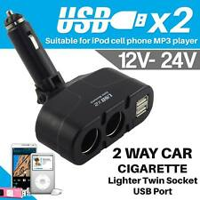 2 Way Car Cigarette Lighter Socket Splitter 12V Dual USB Charger Power Adapter