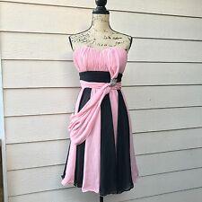 Vintage Patent Dress Black Pink Chiffon Layered Strapless Retro Sz 12 (vtg size)